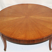 Labeled BAKER Sunburst Cherry Round Coffee Table, Circa 1930