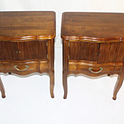 America Made Pair of Solid Walnut Night or Bed Side Tables, Circa 1930s