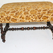 American Jacobean Walnut Rectangular Bench with Barley twist frame, Circa 1930