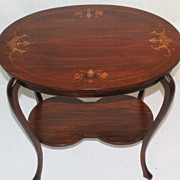 French  Art Nouveau Inlaid Oval Side Table, Circa 1925s'