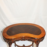 French Louis XV Walnut Kidney Shape SIde Table WIth Satin Banding, Circa 1920s