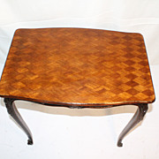 French Louis XV Walnut Table with checkered Inlaid Top , circa 1920
