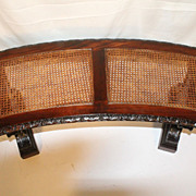 Kittinger Antique Curved Caned Long  Bench with Intricate Carving Circa 1920s