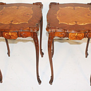 Pair of French Louis XI  Walnut and Satinwood Side or End Tables , Circa1930s