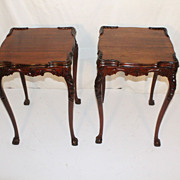 SOLD American Chippendale Mahogany Pair of End or Side Tables, Circa 1930