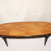 French Art Deco or Modernist Coffee Table with Geometirical designed Top .1940s'