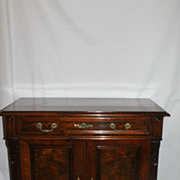 Authentic Antique Victorian Burr Walnut Cabinet or Server with Two Doors,c.19th