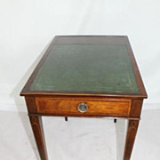 English Sheraton Rectangular Inlaid Side Table with Leather Top. Circa 1910s'
