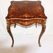 French Louis XV Style Inlaid Side Table with Elaborate Inlaid Circa 19th