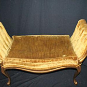 French Louis XV Gilded Window Bench with Tufted Armrest, Circa 1920s'