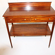 Authentic English Hepplewhite Mahogany Small Sideboard With Double string Inlaid,Circa19th