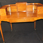 An Edwardian Sheraton Revival Inlaid Satinwood Carlton House Desk