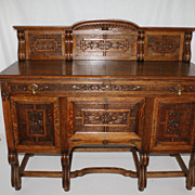 French Oak Sideboard Buffet with Intricate carvings, Circa19th