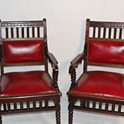 English Jacobean Revival Victorian Walnut Pair of Arm Chairs , turn of 19th