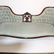 English Victorian Walnut large Sofa Newlly Recovered, Circa 19th