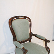 English Victorian Walnut Arm Chair Newlly Recovered Circa 19th