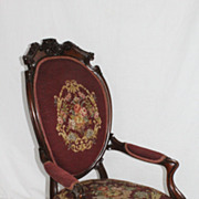 Bulter Rosewood Parlor Arm Chair with Original Needlepoint c.1860s'