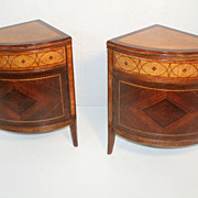 Pair of English Regency Style  Inlaid Corner Commode Cabinets Circa 1920s'