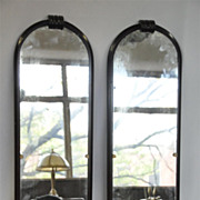 Art Deco Walnut Etched Glass Pair of Mirrors within Walnut Frame, Circa 1940's