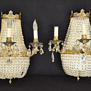European Empire Style Beaded Three Light Sconces,Circa 1920's
