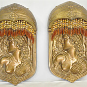 Art Nouveau Pair of Gilded Bronze Metal Sconces with Semi Domed Top. c.1925