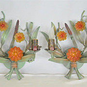 Italian Pair of Painted Metal Sconces Adorned with Colorfully leaves and Flowers
