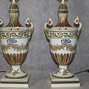 Pair of Italian Hand Painted Porcelain Decorative Lamps