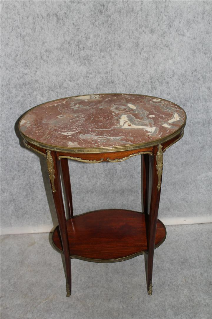 Old French Louis XV Bronze Ormolu Side Table with Inset Marble c. 1900's'