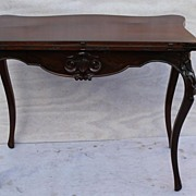 Antique Rosewood Game Table with leather Top and Elaborate Carving Circa 19Th.