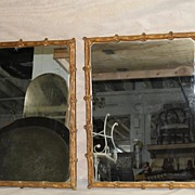 SOLD Old Pair of French Hand Carved gilded Square Mirror, Turn of the Century.