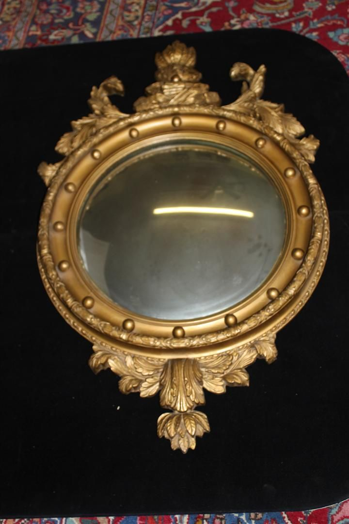Antique French Gilded Butler's Mirror with Carving, Turn of the Century