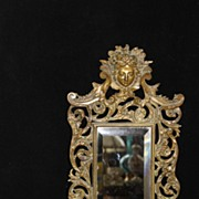 Antique Victorian Brass Beveled Mirror frame with Candle Holders, Circa 19th
