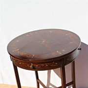 Antique Rare English Game Table with Elaborate Circular Top and Sliding Drawers