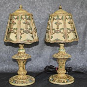 Paris France Barbola Antique Pair of Lamps with Flowers baskets and Leaves