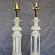 Pair of Pure White ornate Alabaster table Lamps. Circa 1940s'