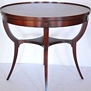 American Oval Mahogany Side Table with Leather top, Imperial Furniture c.1930s'