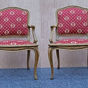 French Bergere Louis XV Beech Wood Armchairs, circa 1930's, Newly Upholstered