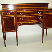 Antique Figured Mahogany English Hepplewhite Sideboard with Elaborate Inlaid
