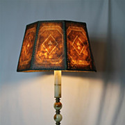 Arts and Craft Style Inlaid Mica Shade Lamp with  Column Onyx Base,Turn of the Century