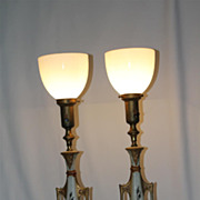 Antique Regency Classical Painted Torchiere Lamps W/Milk Glass Shades c.1920's