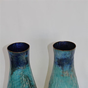 Paolo de Poli Pair of Large Vases with Hand Hammered Enameled on Copper,c1960's