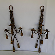 Old Tole Gilded Hollywood Regency Twisted Rope &Tassels Pair of sconces