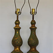 Vintage Pair  Double Gourd Form Cast gesso Lamps with Hand Painted & Parcel Gild