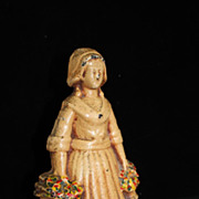 Antique Cast Iron Victorian Colonial Small Lady Door Stop circa 19th