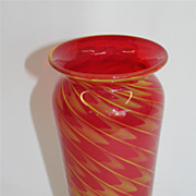 Vintage Art Glass vase in Ruby Color and Dark Gold Swirls  Circa 1940's