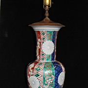 Japanese Meiji Period Imari  PorcelainVase Shape Lamp Circa 1900