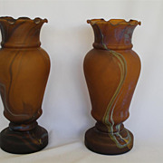 Studio Art Glass &hand Blown Vases with Amber Color