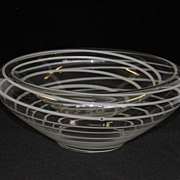 Art Glass Unusual Shaped Double glass Bowl/Dish, white swirls on clear Glass