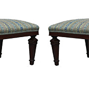 Neoclassical Pair of Low Walnut Benches, Turn of Century