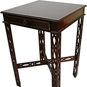 SOLD English-chippendale Mahogany side table, turn of Century